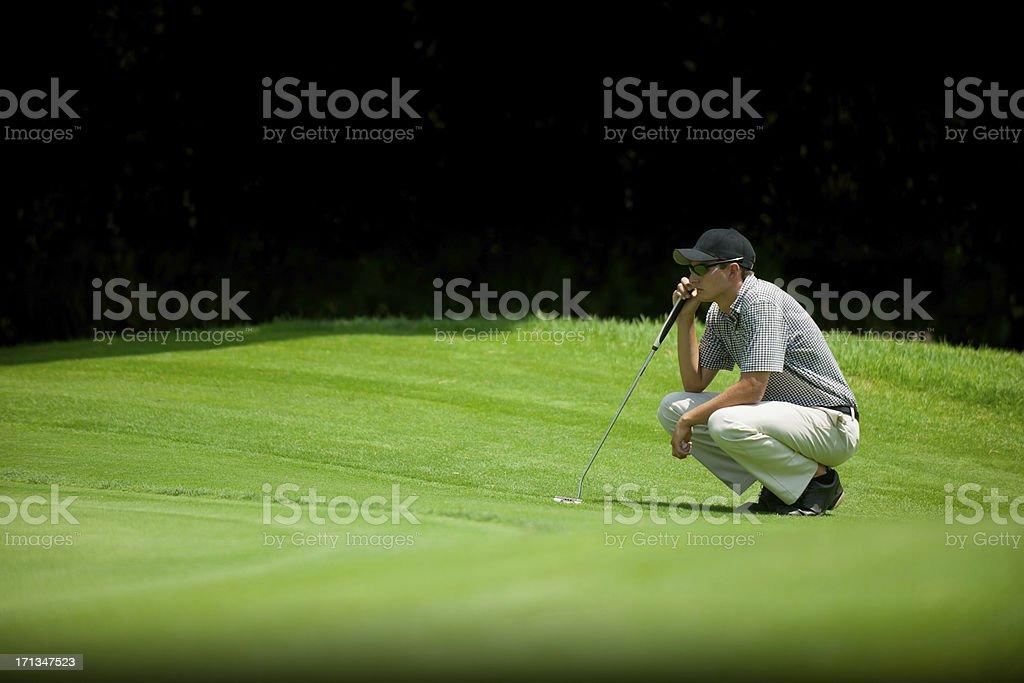 Golfer Taking Aim stock photo