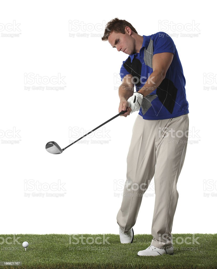 Golfer teeing off royalty-free stock photo