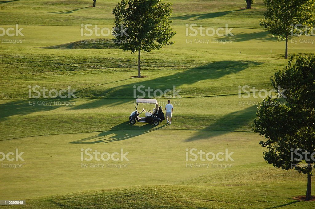 Golfer with Golf Cart royalty-free stock photo