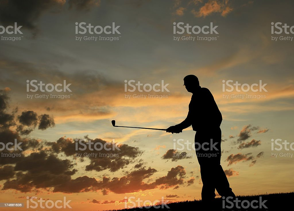 Golfer with Golf Club Silhouette royalty-free stock photo