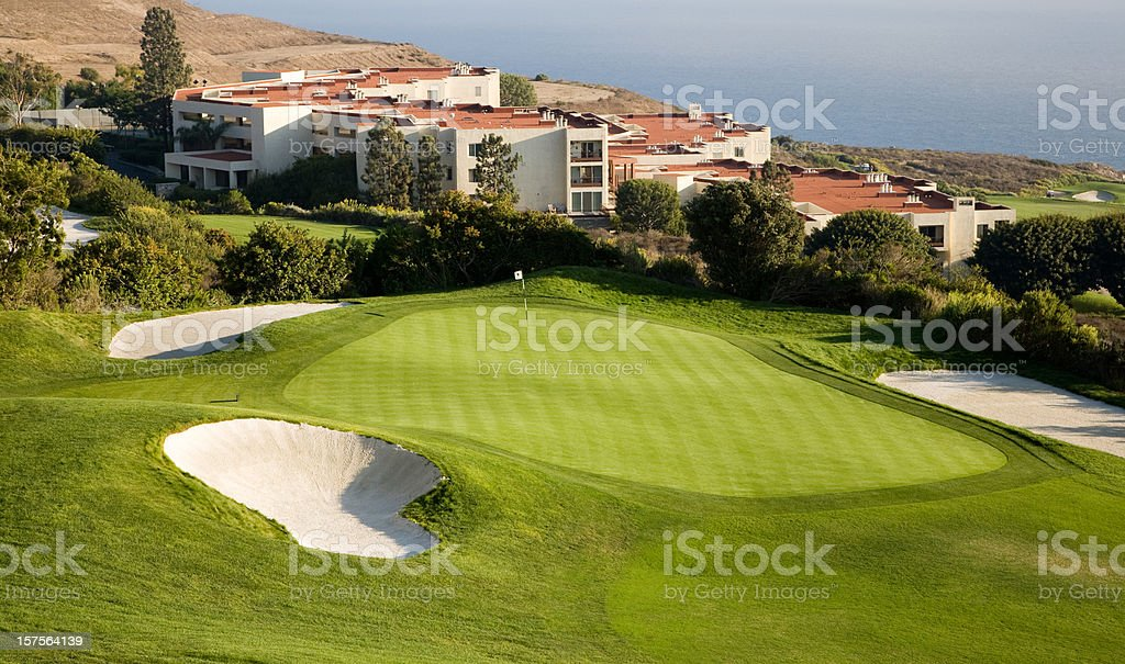 Golfing green stock photo