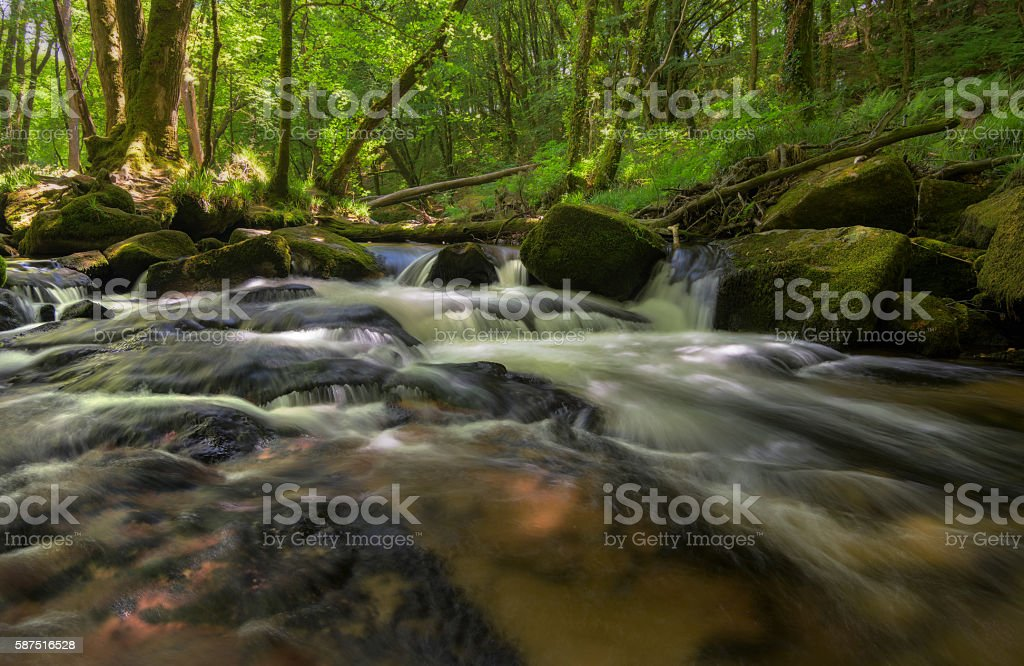 Golitha waterfalls in Cornwall, England stock photo