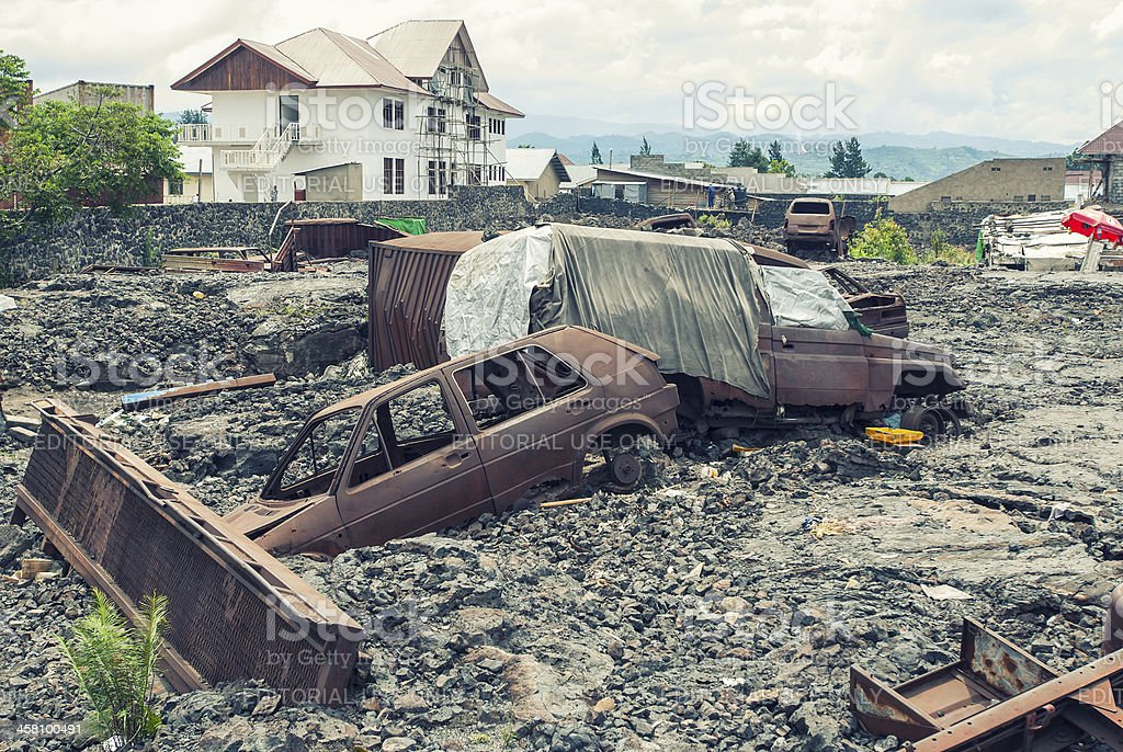 Goma city destroyed by the lava flow of Nyiragongo volcano stock photo