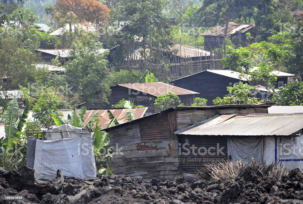 Goma, Congo: shanty town built over a lava field stock photo