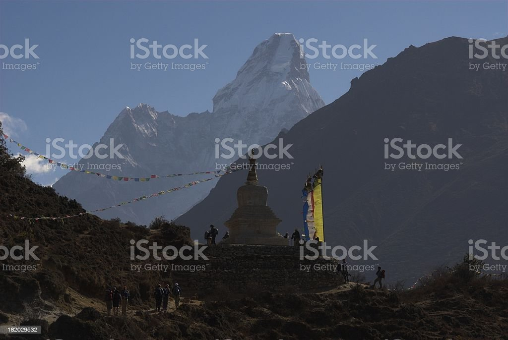 Gompa and Ama Dablam royalty-free stock photo
