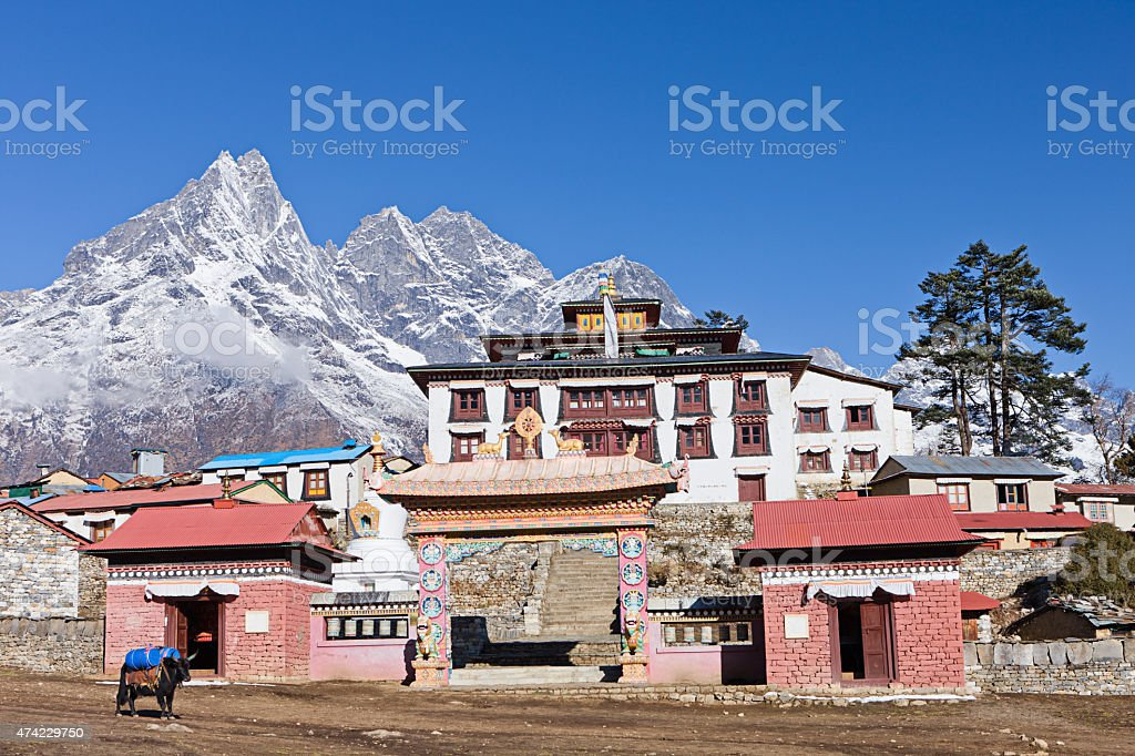Gompa in Tengboche, Mount Everest National Park, Nepal stock photo