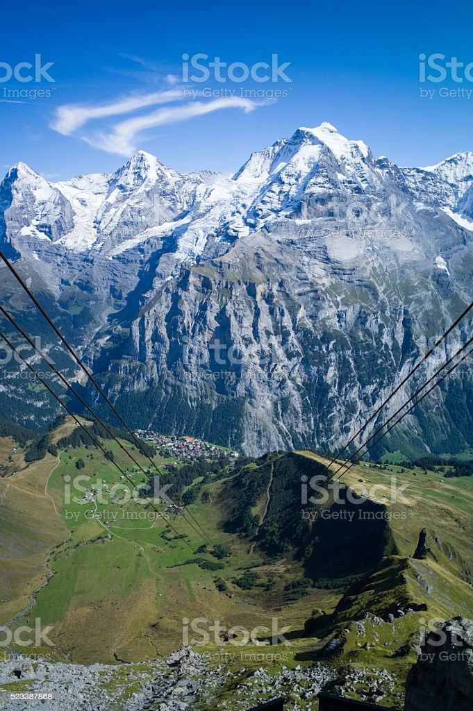 Gondala over Murren stock photo