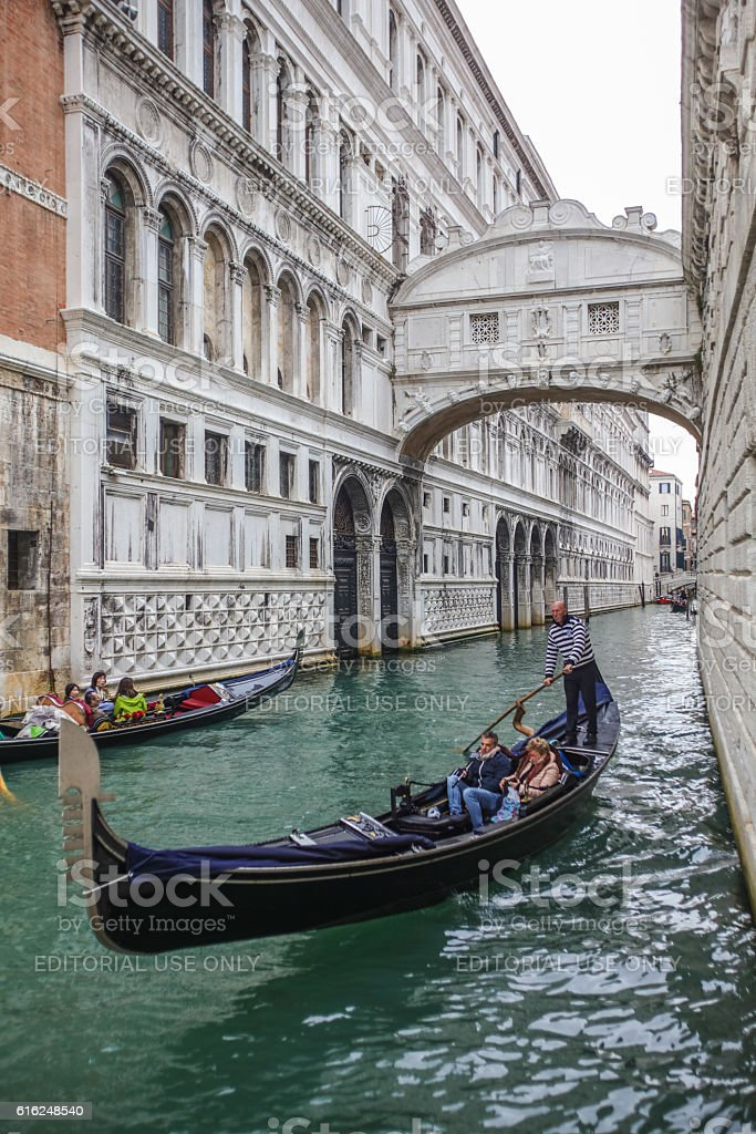 Gondola and bridge of sighs in Venice, Italy stock photo