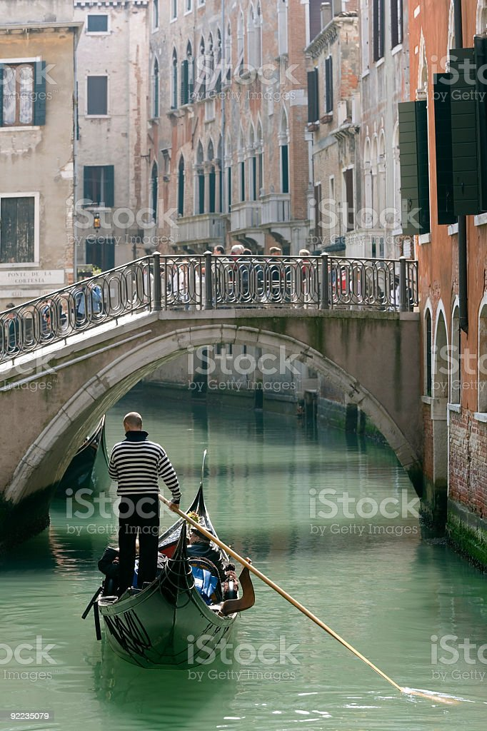 Gondola and old bridge in Venice (XXL) royalty-free stock photo