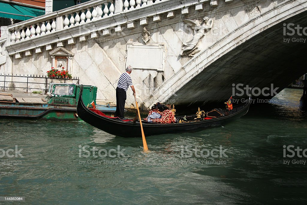 gondola and Rialto bridge royalty-free stock photo