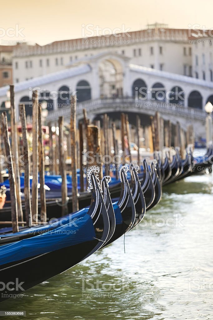 Gondola at Rialto Bridge Grand Canal Venice Italy stock photo
