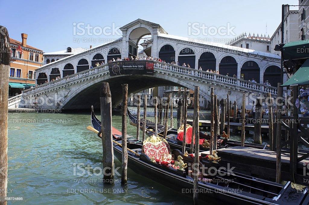 Gondola at Rialto bridge royalty-free stock photo