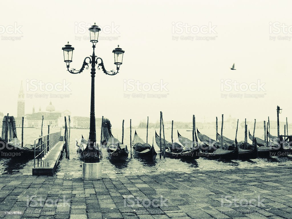 Gondola at Venice - Grainy, Black and White royalty-free stock photo