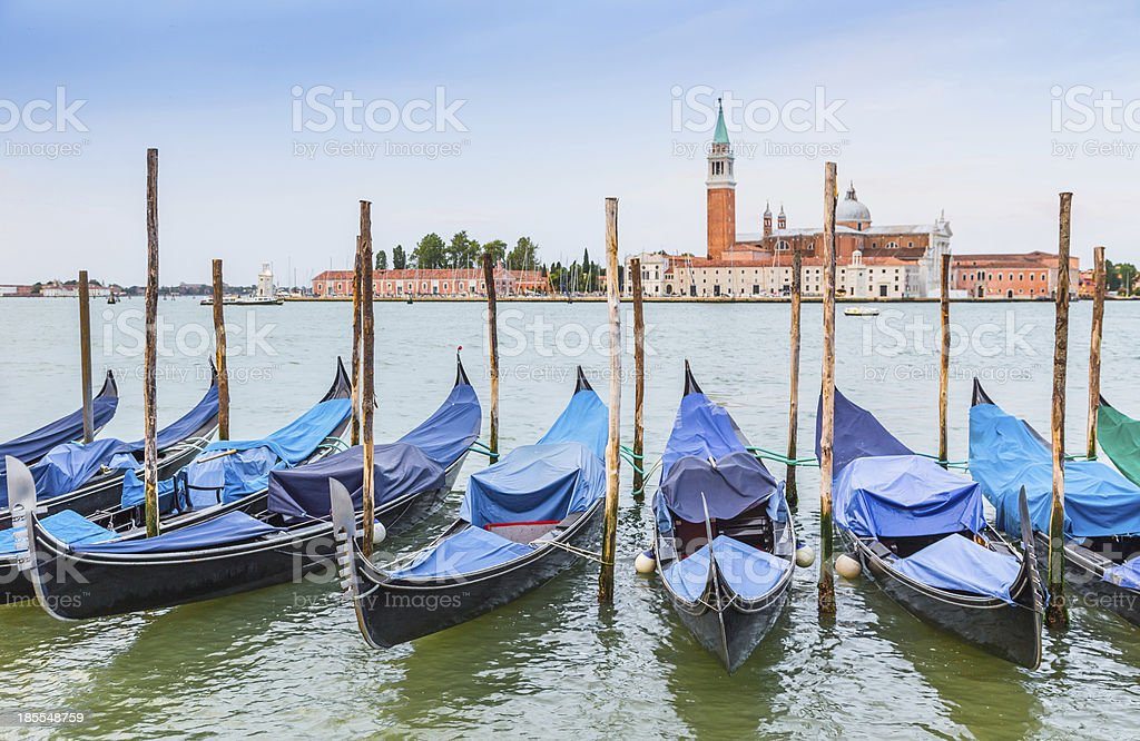 gondola boats and San Giorgio church, Venice royalty-free stock photo