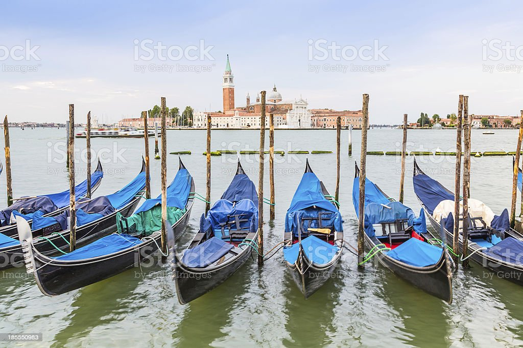 gondola boats and San Giorgio church, Venice royalty-free stock photo