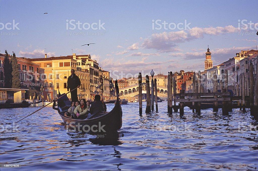 Gondola by Rialto Bridge royalty-free stock photo