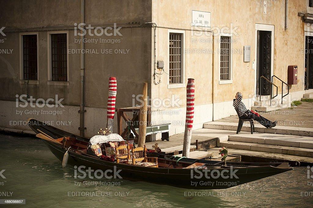 Gondola & Gondolier royalty-free stock photo