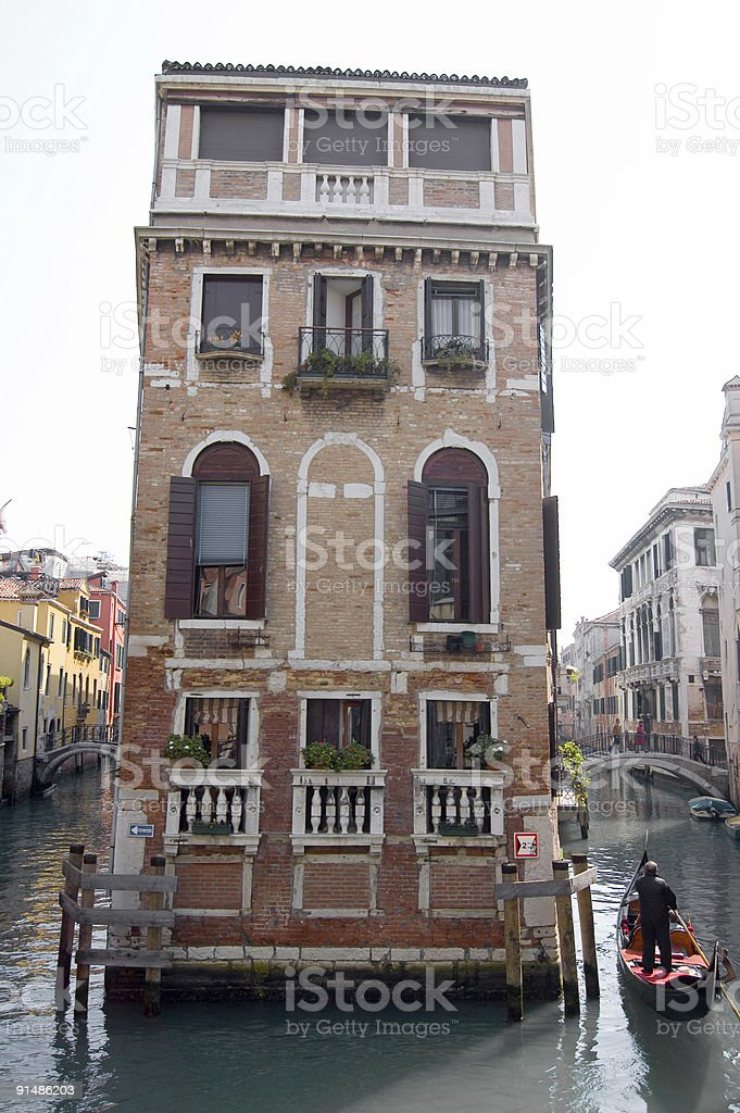 Gondola, House and Canals royalty-free stock photo