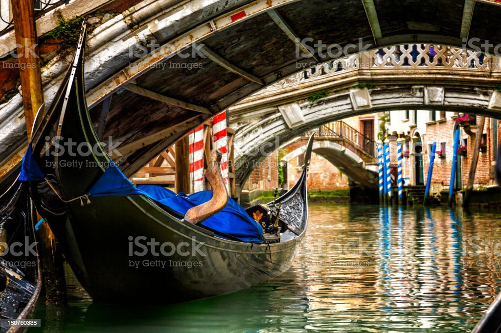 Gondola in a Venice canal royalty-free stock photo