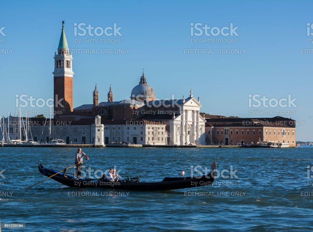 Gondola in front of San Giorgio Maggiore, Venice stock photo