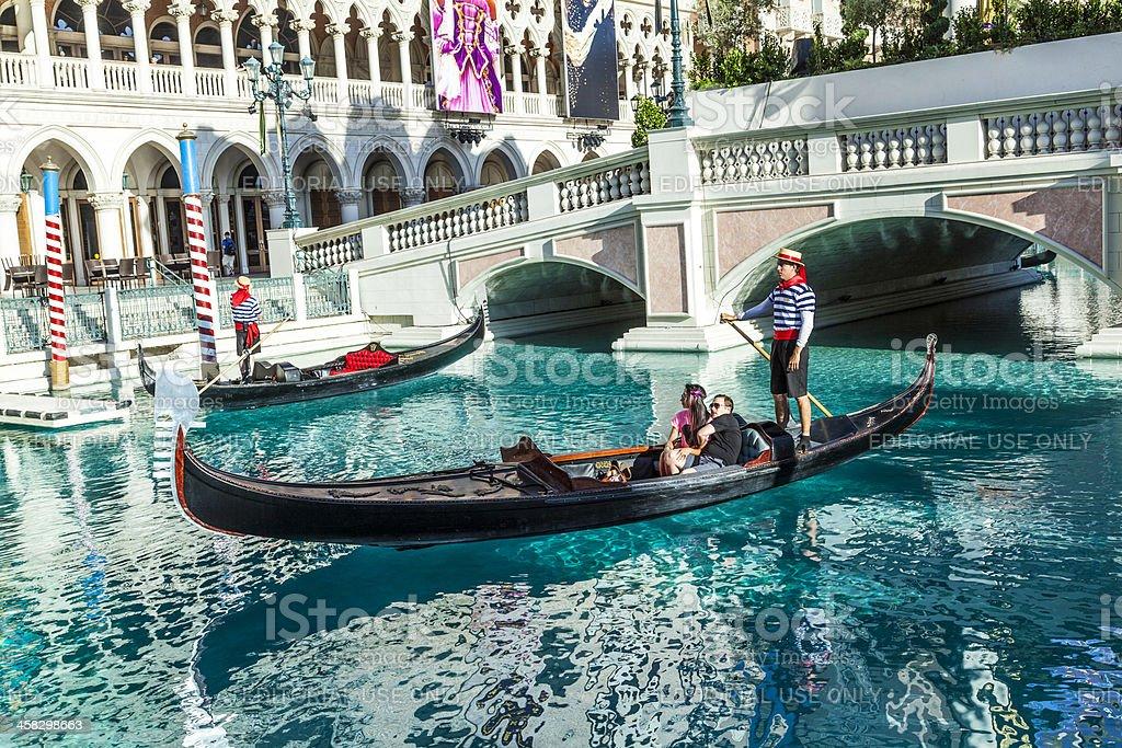 Gondola in front of the Venetian Resort Hotel Casino royalty-free stock photo