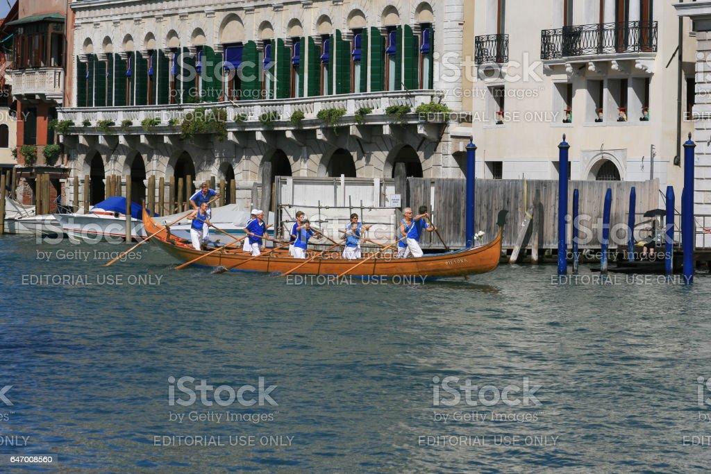 Gondola in Grand Canal during Regata Storica, Venice, Italy. stock photo