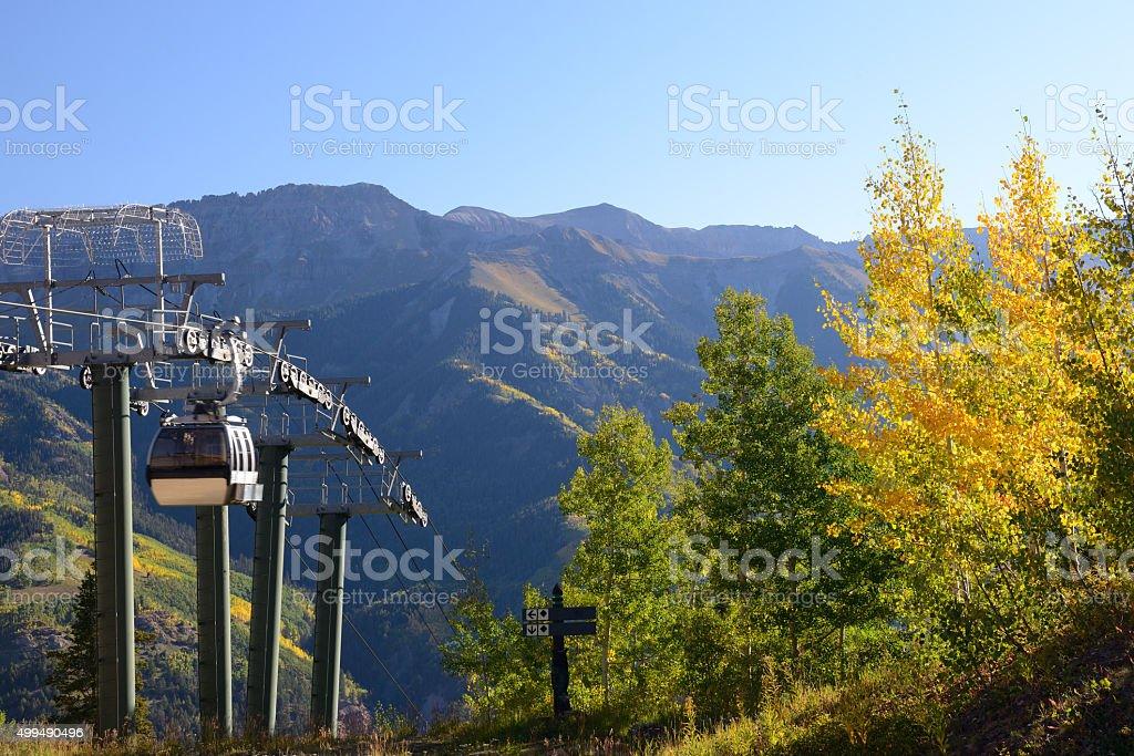 Gondola in Telluride of Colorado stock photo