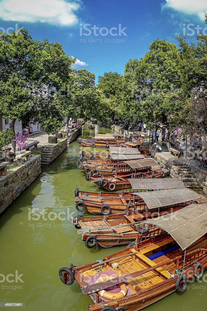 Gondola in tongli park china stock photo