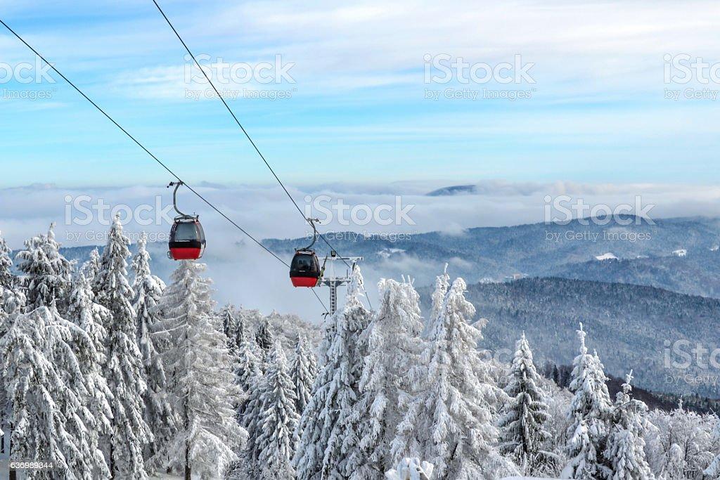 Gondola lift in a ski resort stock photo