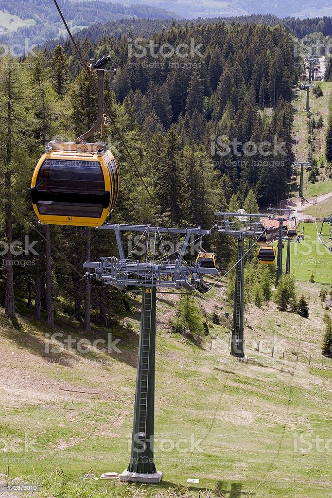 Gondola lift in Avelengo (South Tyrol) stock photo