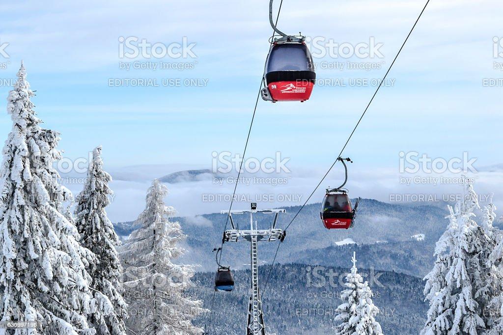 Gondola Lift Jaworzyna Krynicka stock photo