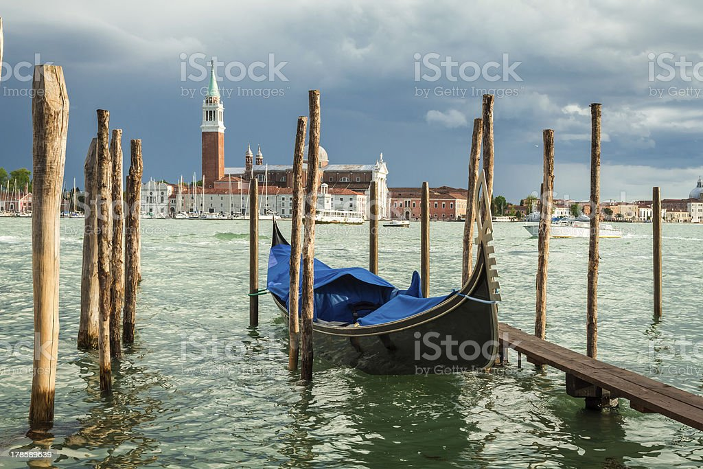 Gondola moored on the Grand Canal in Venice royalty-free stock photo