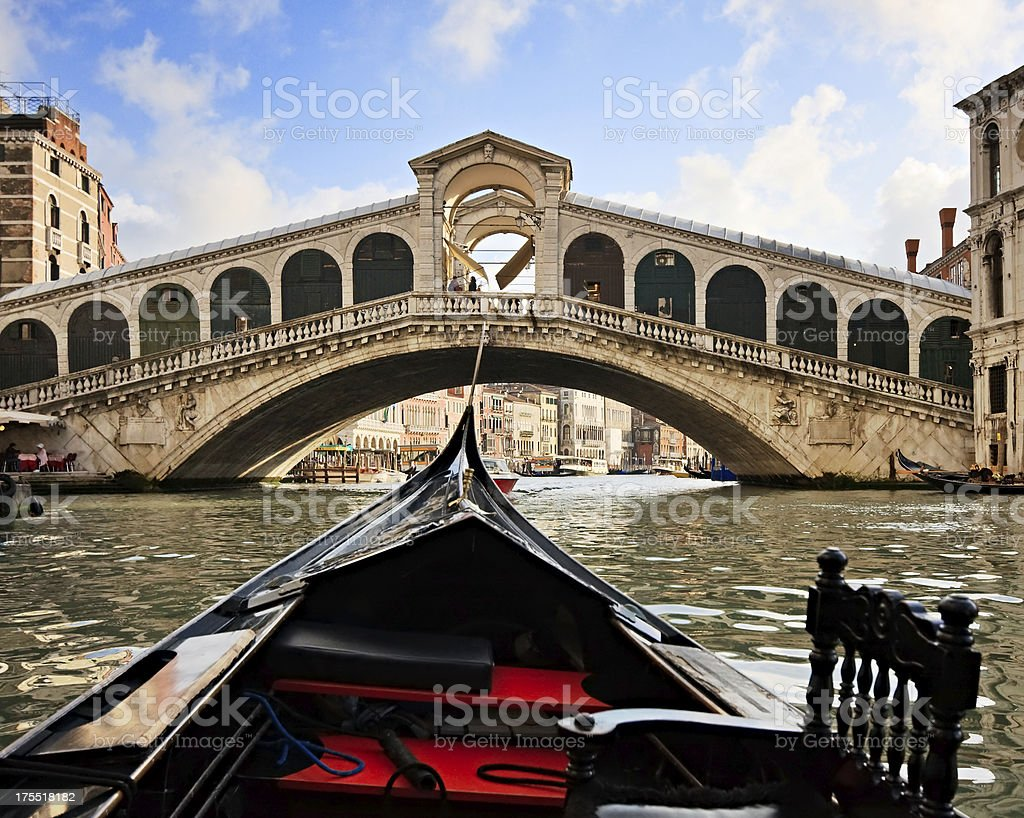Gondola near Rialto Bridge, Venice, Italy stock photo