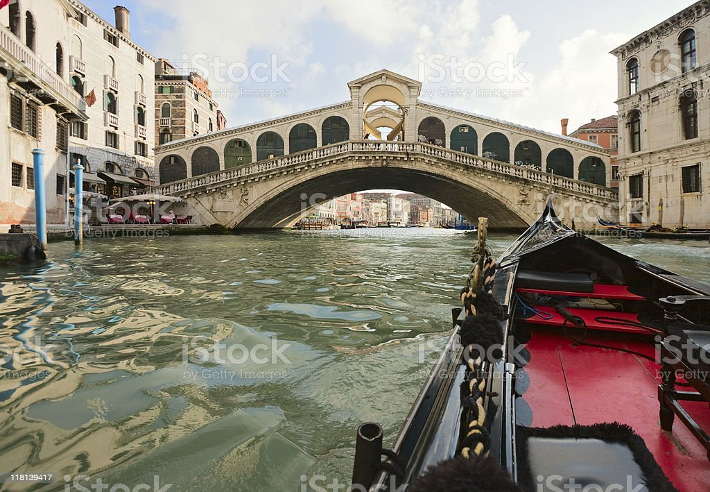 Gondola near Rialto Bridge, Venice royalty-free stock photo