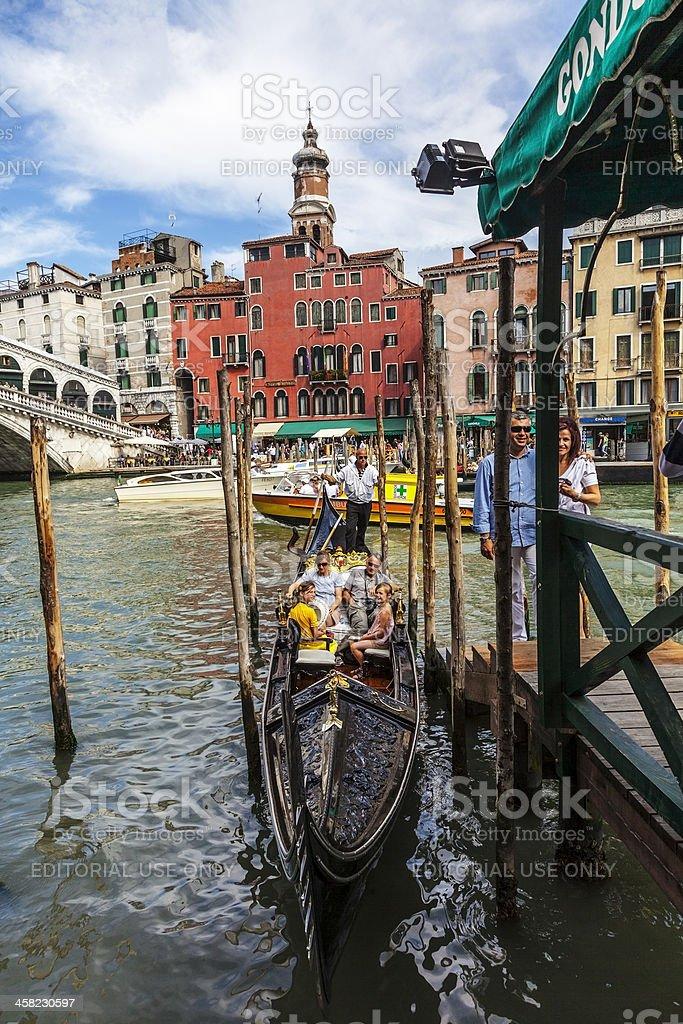 Gondola Near the Rialto Bridge royalty-free stock photo