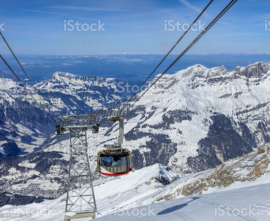 Gondola of the Rotair cable car on Mt. Titlis stock photo