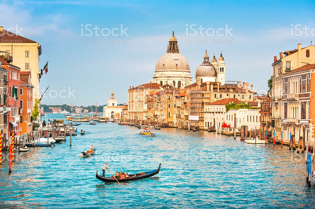 Gondola on Canal Grande at sunset, Venice, Italy stock photo