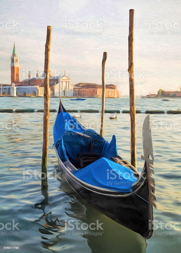 Gondola on Grand Canal in Venice, Italy - digitally painted stock photo