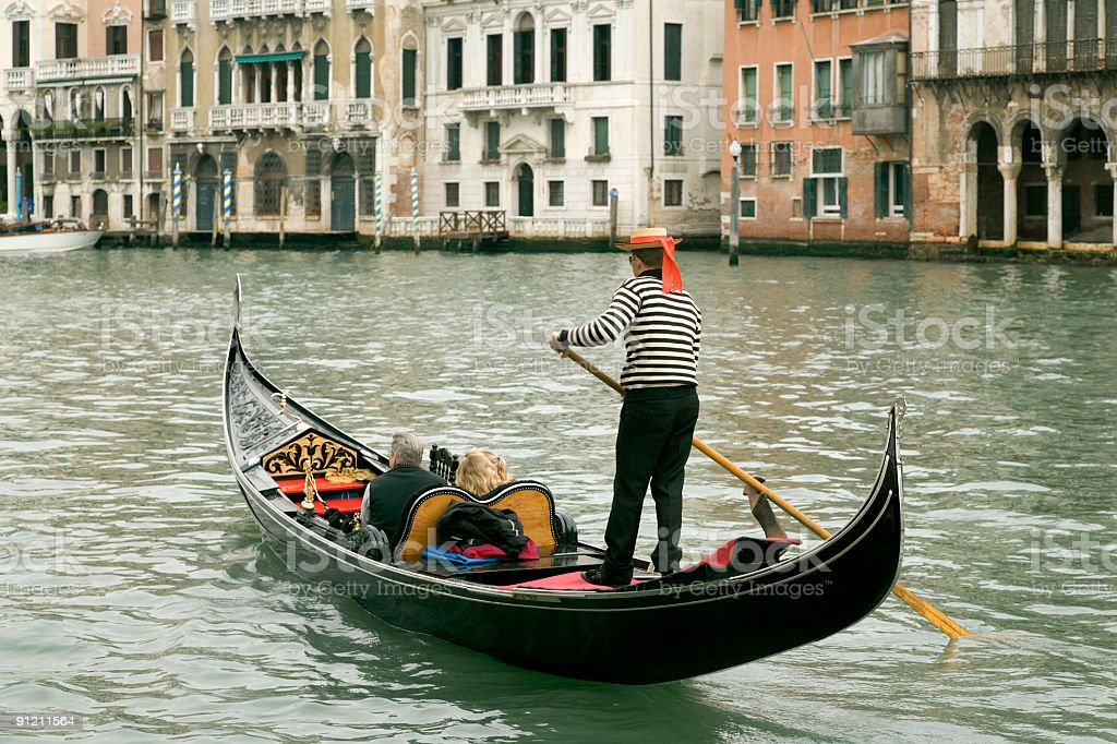 Gondola on Grand Canal in Venice, Italy stock photo