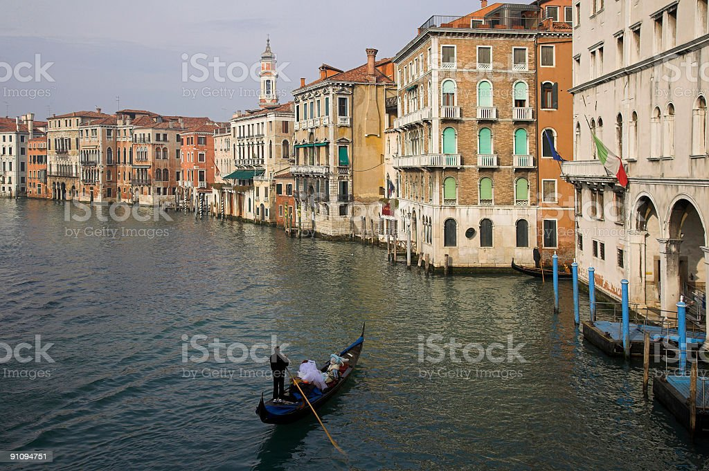 Gondola on Grand Canal in Venice royalty-free stock photo