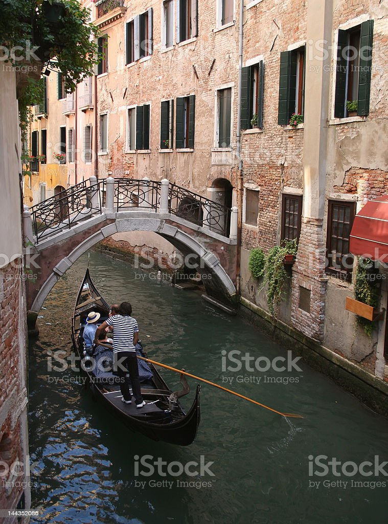 gondola on narrow canal royalty-free stock photo