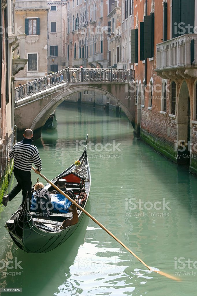 Gondola on small canal in Venice (XXL) royalty-free stock photo