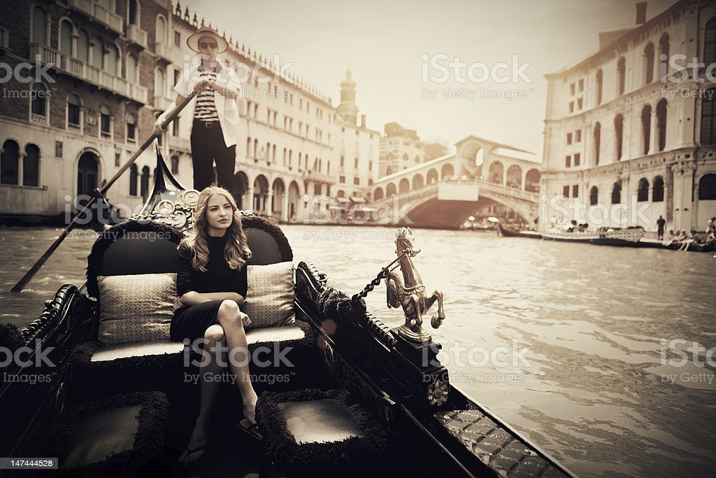Gondola on the Grand Canal of Venice stock photo