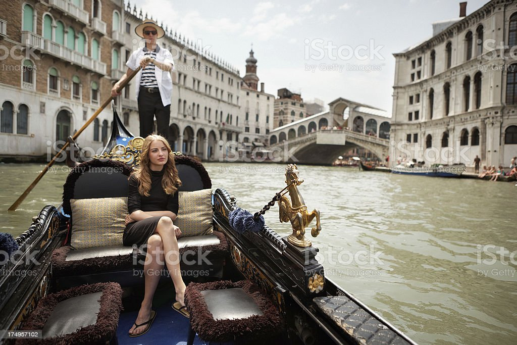 Gondola on the Grand Canal of Venice royalty-free stock photo