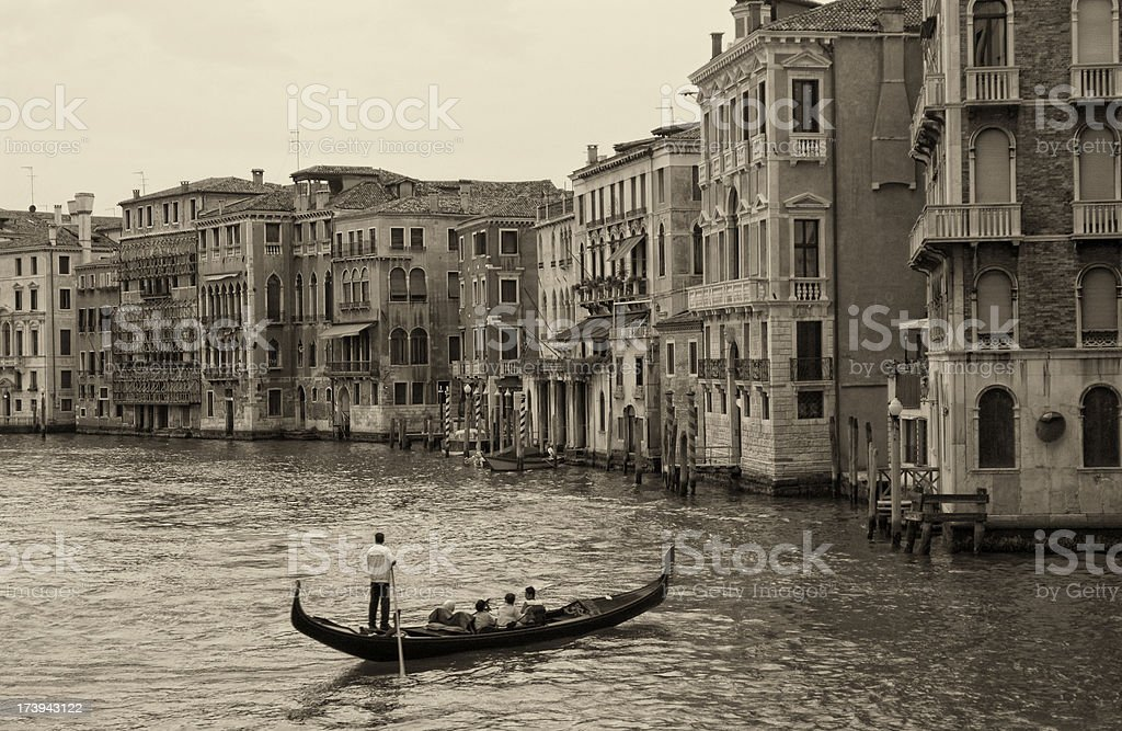 Gondola on the Grande Canal in Venice royalty-free stock photo