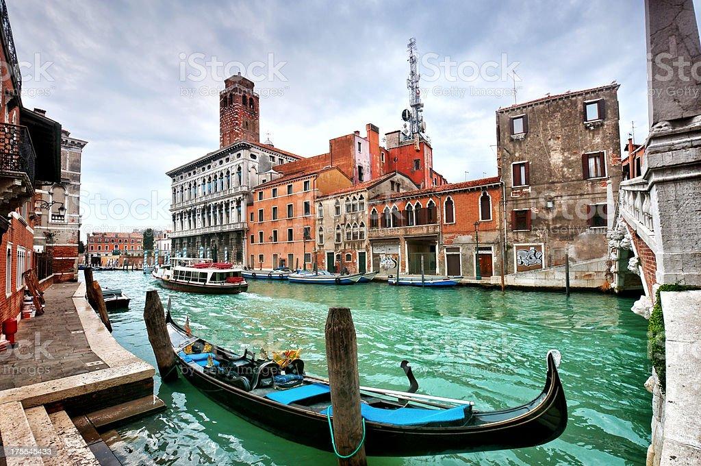 Gondola on the Venetian Lagoon at Sunset stock photo