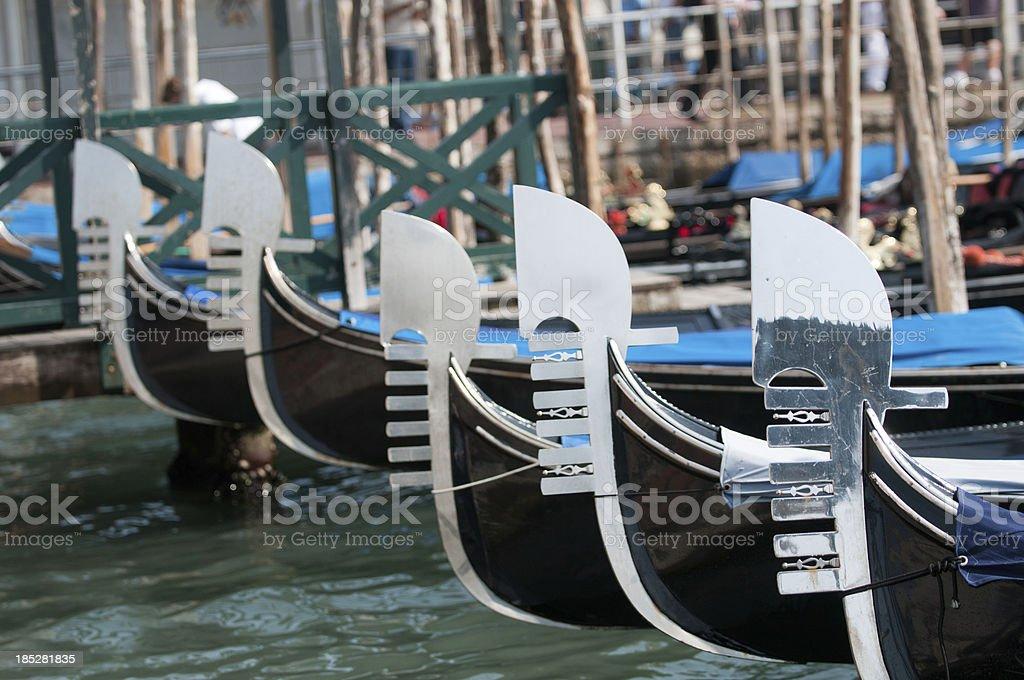 Gondola parking, Venice royalty-free stock photo
