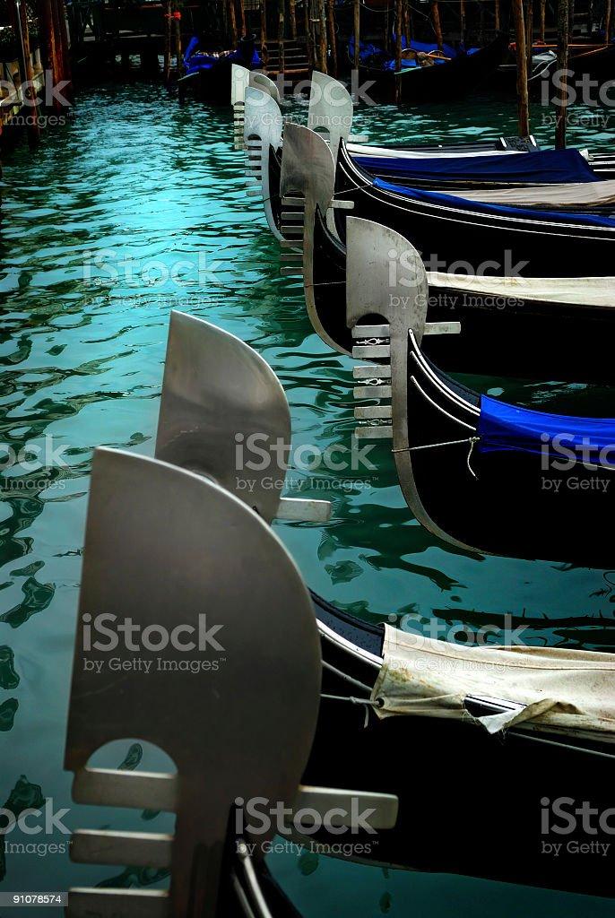 gondola prows stock photo