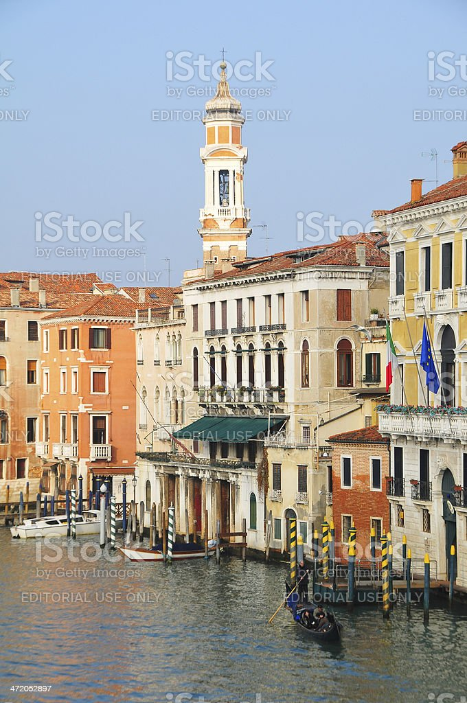 Gondola ride during on sunny day in Venice royalty-free stock photo