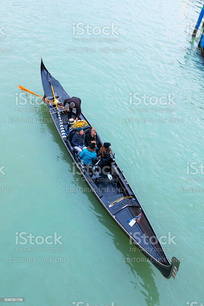 Gondola ride on Grand canal, Venice, Italy stock photo